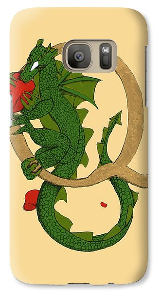 Galaxy Case featuring the mixed media Dragon Letter Q by Donna Huntriss