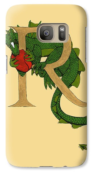Galaxy Case featuring the mixed media Dragon Letter R by Donna Huntriss