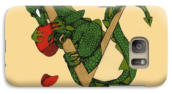 Galaxy Case featuring the mixed media Dragon Letter V by Donna Huntriss
