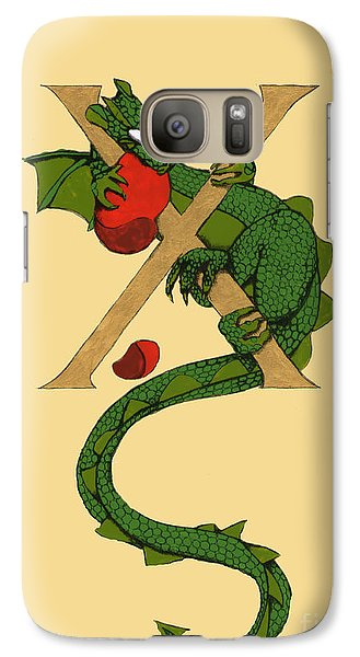 Galaxy Case featuring the mixed media Dragon Letter X by Donna Huntriss