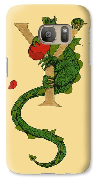 Galaxy Case featuring the mixed media Dragon Letter Y by Donna Huntriss