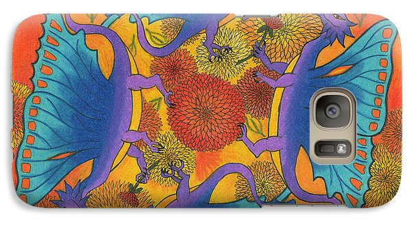 Galaxy Case featuring the drawing Dragondala Fall by Mary J Winters-Meyer