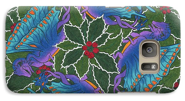 Galaxy Case featuring the drawing Dragondala Winter by Mary J Winters-Meyer