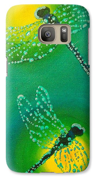 Galaxy Case featuring the painting Dragonflies Adorned With Morning Dew by Janet McDonald