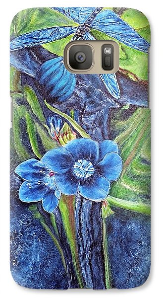 Galaxy Case featuring the painting Dragonfly Hunt For Food In The Flowerhead by Kimberlee Baxter