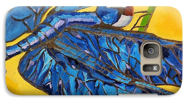 Galaxy Case featuring the painting Dragonfly In Blue by Lisa Brandel