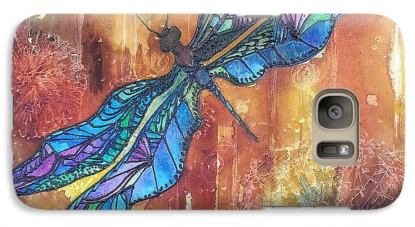 Galaxy Case featuring the painting Dragonfly Rust by Christy  Freeman