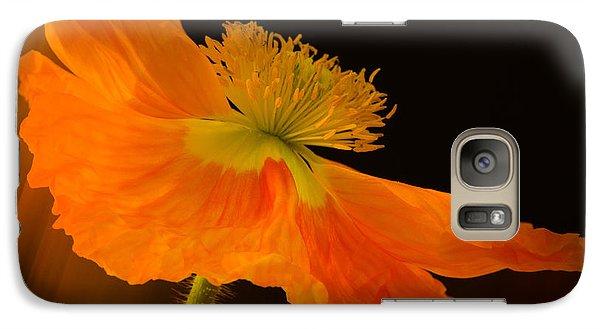 Galaxy Case featuring the photograph Dramatic Orange Poppy by Don Schwartz