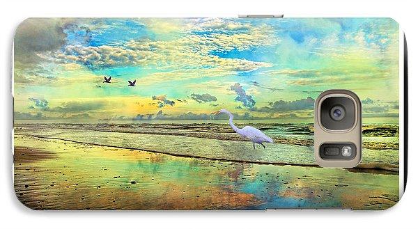 Dreaming Along The Coast -- Egret  Galaxy S7 Case by Betsy Knapp