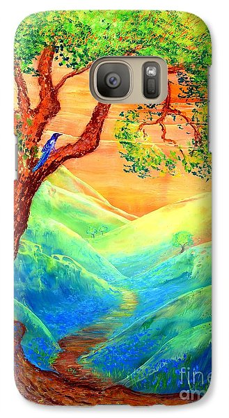 Magpies Galaxy S7 Case - Dreaming Of Bluebells by Jane Small