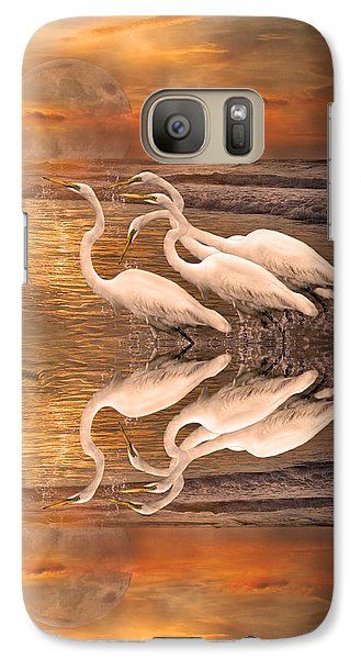 Dreaming Of Egrets By The Sea Reflection Galaxy S7 Case by Betsy Knapp