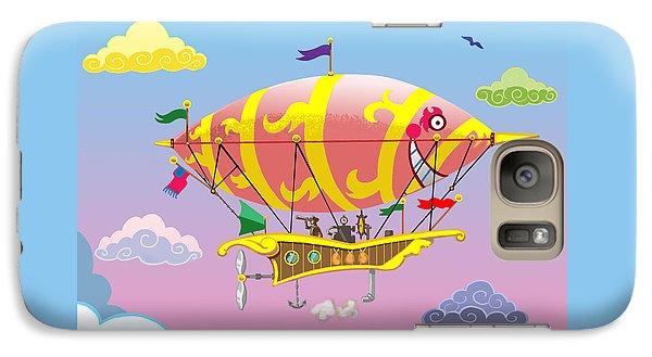 Galaxy Case featuring the mixed media Rainbow Steampunk Dreamship by J L Meadows