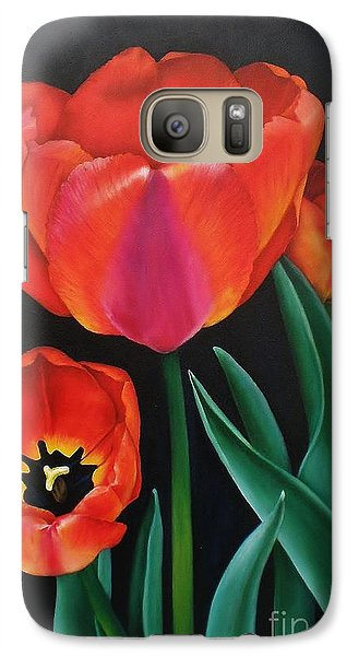 Galaxy Case featuring the painting Dressed In Red by Paula L