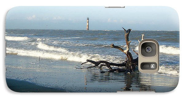 Galaxy Case featuring the photograph Driftwood And Morris Island Lighthouse by Ellen Tully