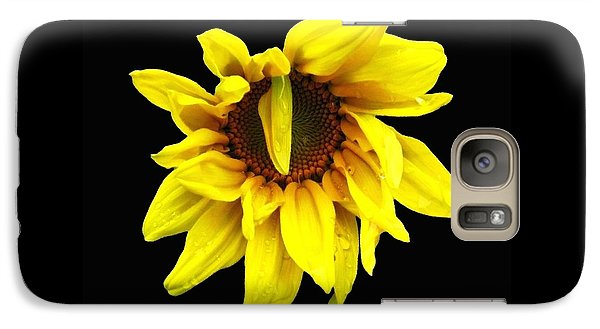 Galaxy Case featuring the photograph Droops Sunflower With Oil Painting Effect by Rose Santuci-Sofranko