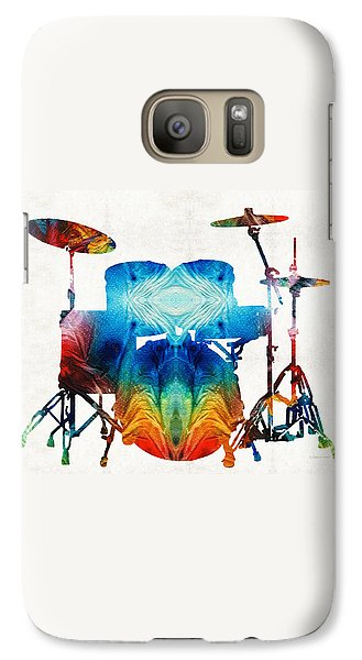Drum Set Art - Color Fusion Drums - By Sharon Cummings Galaxy S7 Case