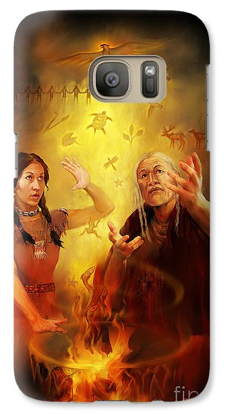 Galaxy Case featuring the painting Drum Story Elders Teaching by Rob Corsetti