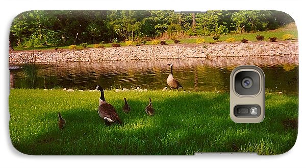 Galaxy Case featuring the photograph Duck Family Getting Back From Pond by Amazing Photographs AKA Christian Wilson