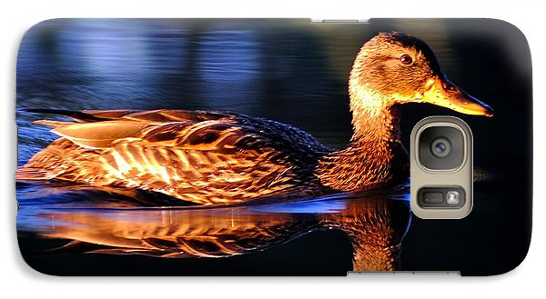 Galaxy Case featuring the photograph Duck On A River With Refletion by Todd Soderstrom