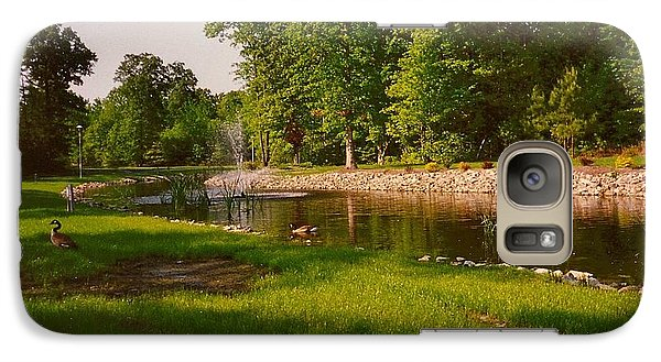 Galaxy Case featuring the photograph Duck Pond With Water Fountain by Amazing Photographs AKA Christian Wilson