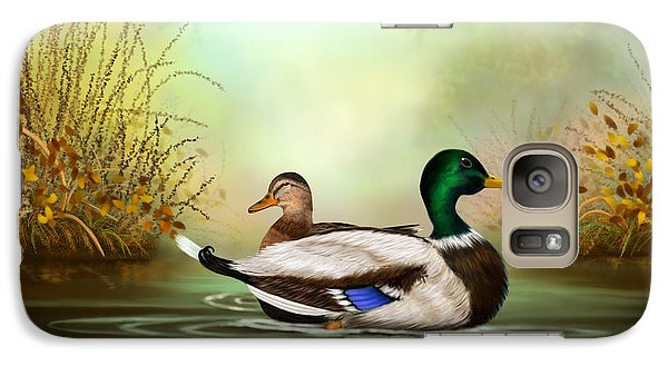 Galaxy Case featuring the painting Duck Retreat by Sena Wilson