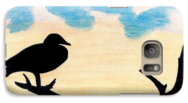 Galaxy Case featuring the drawing Duck Sunset by D Hackett