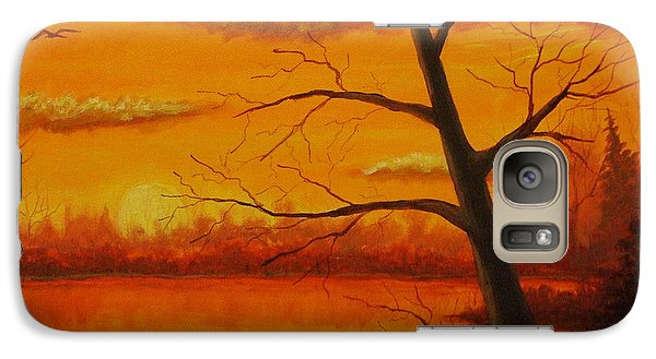 Galaxy Case featuring the painting Duck Sunset by Dan Wagner
