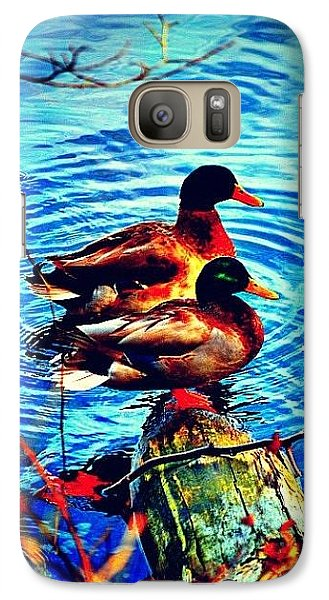 Galaxy Case featuring the photograph Ducks On A Log by Tara Potts