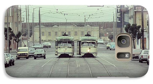 N Judah Dueling Streetcars.  End Of Judah Street.  1970s. Galaxy S7 Case