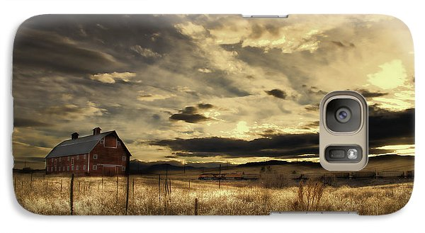 Galaxy Case featuring the photograph Dusk At The Red Barn by Kristal Kraft