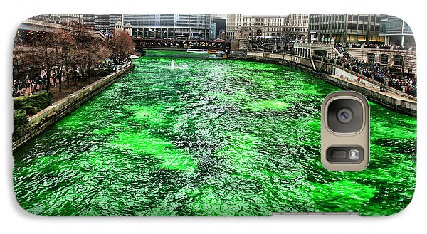 Galaxy Case featuring the photograph Dyeing The Chicago River Green by Jerome Lynch