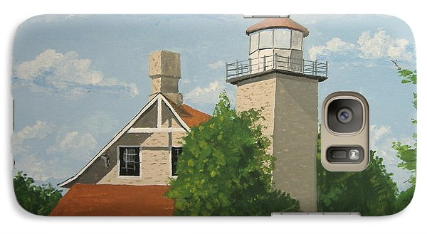 Galaxy Case featuring the painting Eagle Bluff Lighthouse Wisconsin by Norm Starks