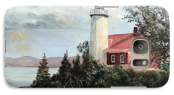 Galaxy Case featuring the painting Eagle Harbor Light by Lee Piper