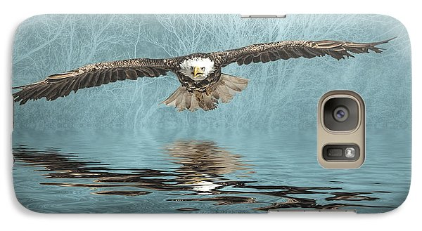 Galaxy Case featuring the photograph Eagle On Misty Lake by Brian Tarr