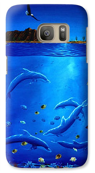 Galaxy Case featuring the painting Eagle Over Dolphins by Lance Headlee