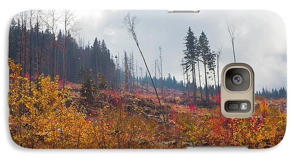 Galaxy Case featuring the photograph Early Autumn Yellow Red Colored Mountain View by Jivko Nakev