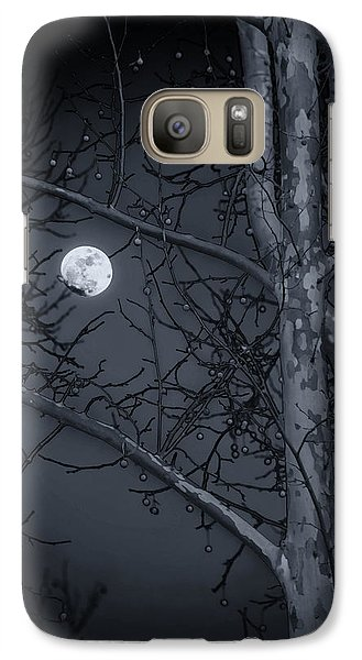 Galaxy Case featuring the photograph Early Moon In Black And White by Micah Goff