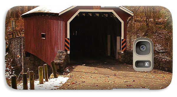Galaxy Case featuring the photograph Early Snowfall On Wooden Covered Bridge by Bob Sample