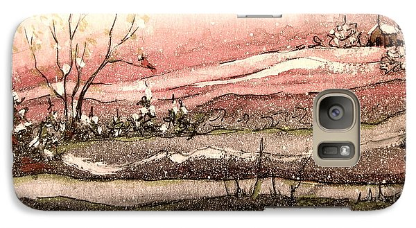Galaxy Case featuring the painting Early Spring Church Snow by Gretchen Allen