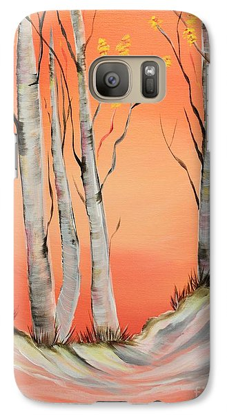 Galaxy Case featuring the painting Early Winter Aspen by Janice Rae Pariza