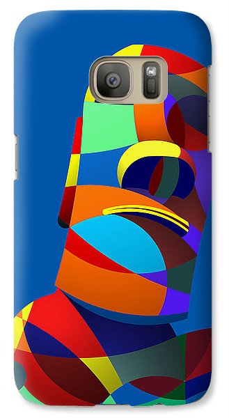 Galaxy Case featuring the digital art Easter Island Blue by Randall Henrie