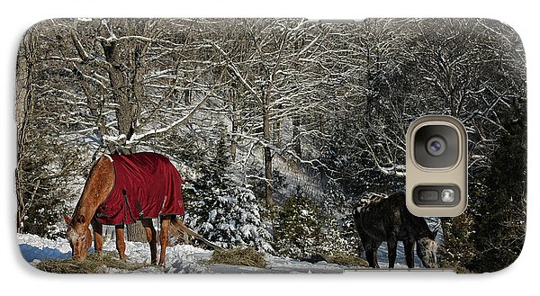 Galaxy Case featuring the photograph Eating Hay In The Snow by Denise Romano