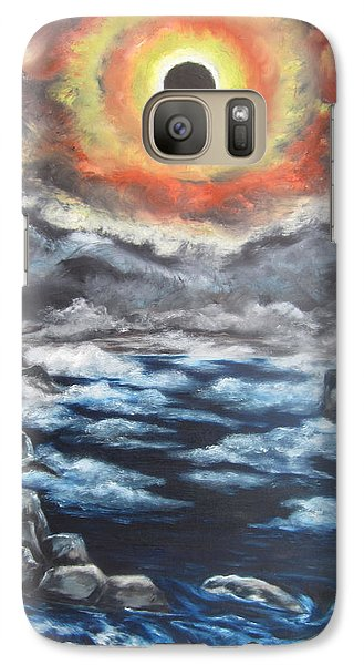 Galaxy Case featuring the painting Eclipse by Cheryl Pettigrew
