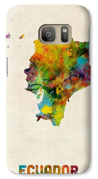 Ecuador Watercolor Map Galaxy Case by Michael Tompsett