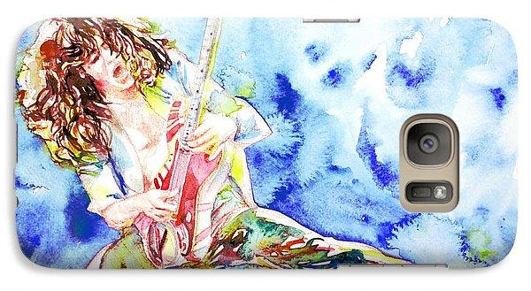 Eddie Van Halen Playing The Guitar.1 Watercolor Portrait Galaxy S7 Case by Fabrizio Cassetta