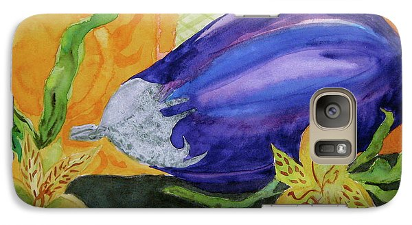 Galaxy Case featuring the painting Eggplant And Alstroemeria by Beverley Harper Tinsley