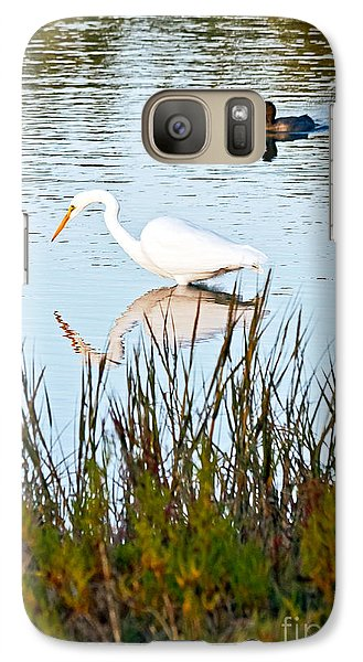 Galaxy Case featuring the photograph Egret And Coot In Autumn by Kate Brown