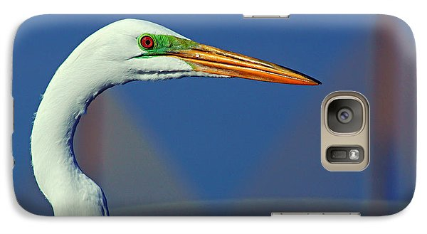 Galaxy Case featuring the photograph Egret And Skyway II by Daniel Woodrum