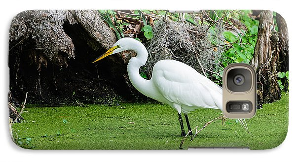 Galaxy Case featuring the photograph Egret Fishing by John Johnson