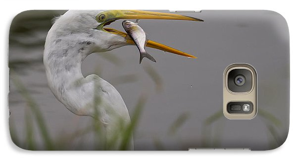 Galaxy Case featuring the photograph Egret Having Lunch by Jerry Gammon